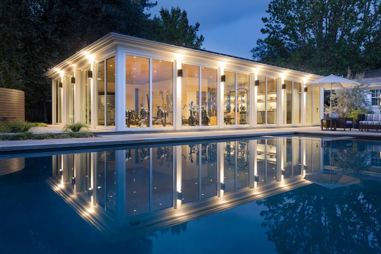 home gym poolside